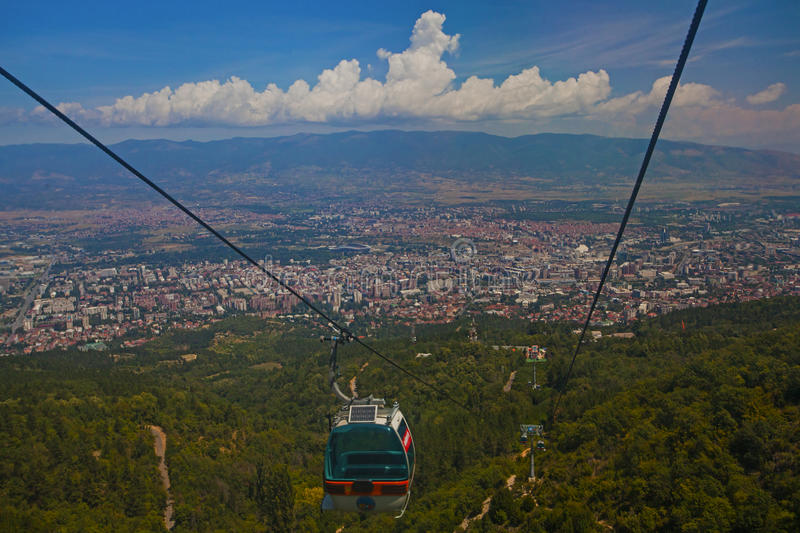 Aerial view of cable car on Vodno mountain royalty free stock photo