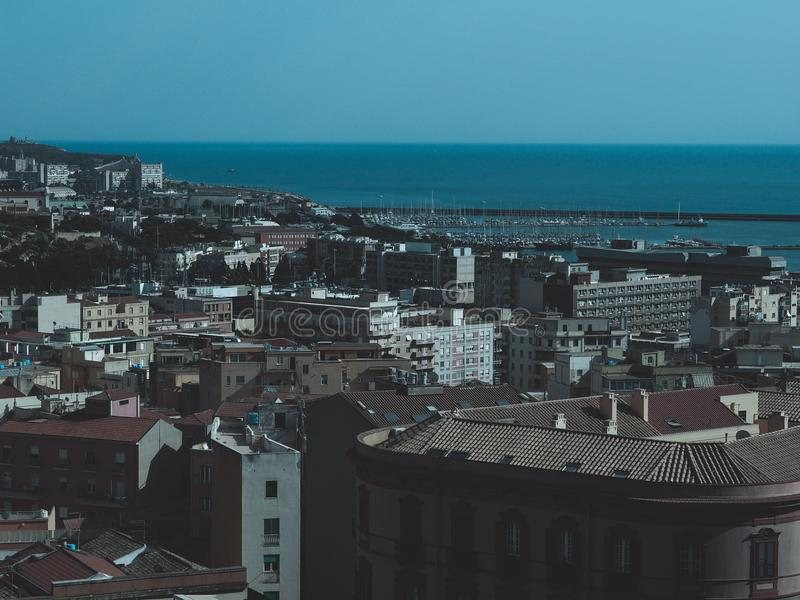 Aerial view of Cagliari. Aerial view of the city of Cagliari, Italy stock photo