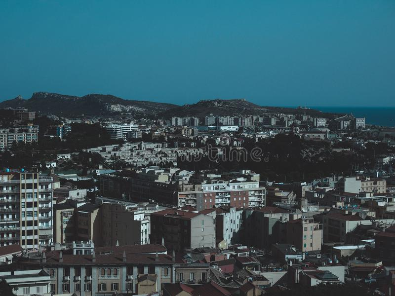 Aerial view of Cagliari. Aerial view of the city of Cagliari, Italy stock photography
