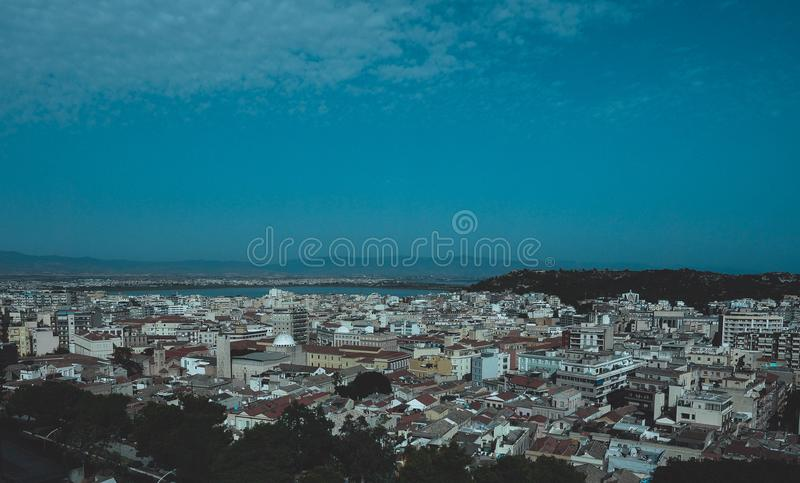 Aerial view of Cagliari. Aerial view of the city of Cagliari, Italy stock image