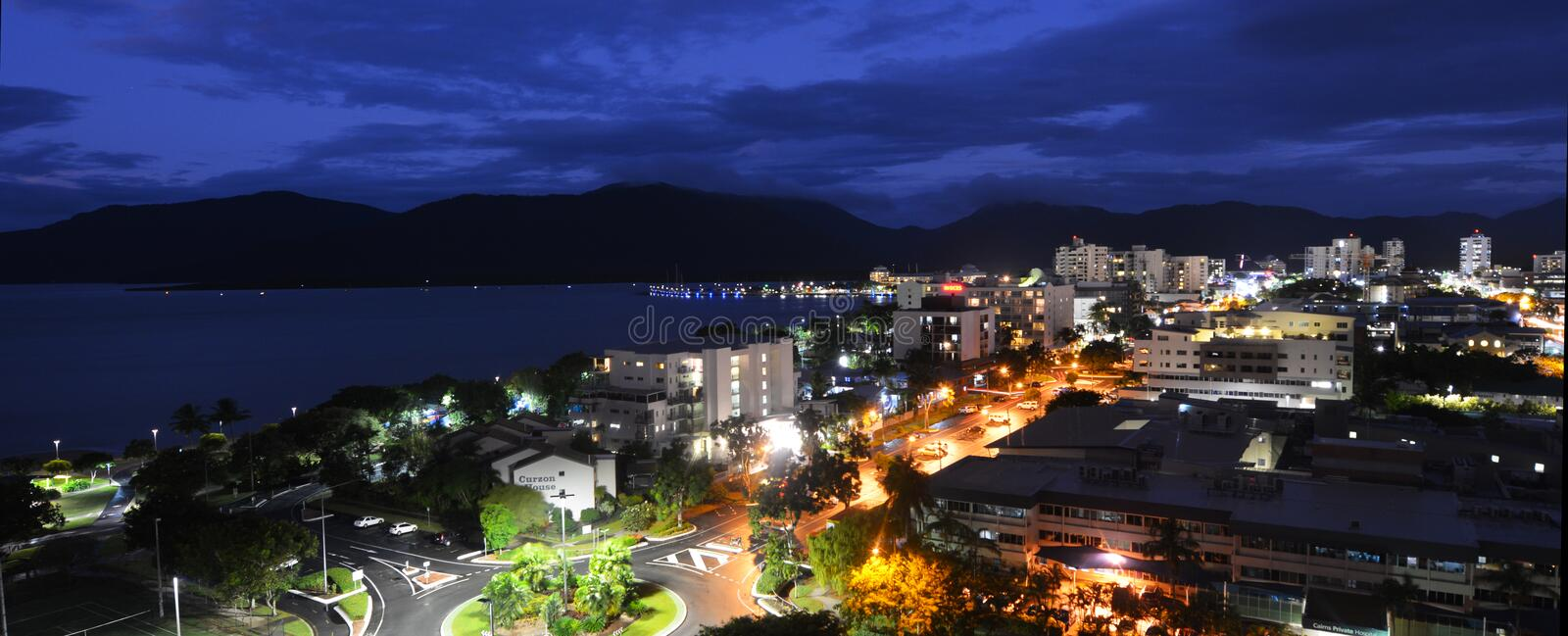 Aerial view of Cairns Queensland Australia at dusk light stock photography