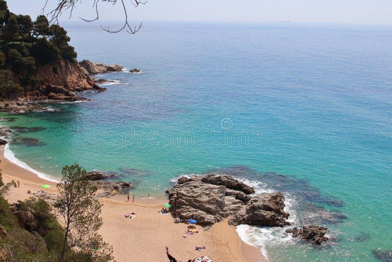 Aerial view of Cala Boadella, one of the most amazing hidden spots of la Costa Brava seaside, Lloret de Mar, Girona, Catalonia. stock photo