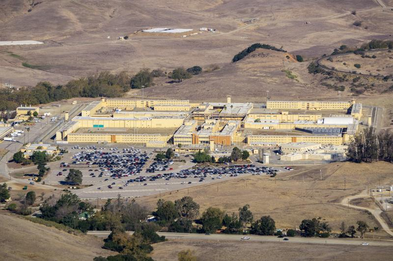 Aerial view of California Men's Colony, a male-only state prison located northwest of the city of San Luis Obispo, San Luis Obisp. O County, California stock photography