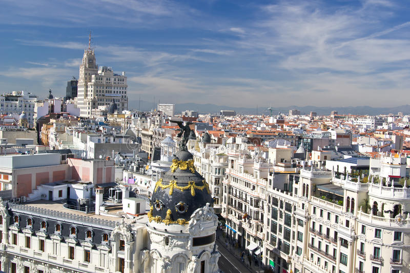 Aerial view of the Calle Gran Via in Madrid, Spain. Aerial view of the beginning of Calle Gran Via in Madrid, Spain stock photography