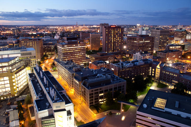 Aerial view of Cambridge and Boston royalty free stock photography