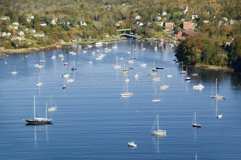 Aerial view of Camden Harbor in Camden, Maine stock photography