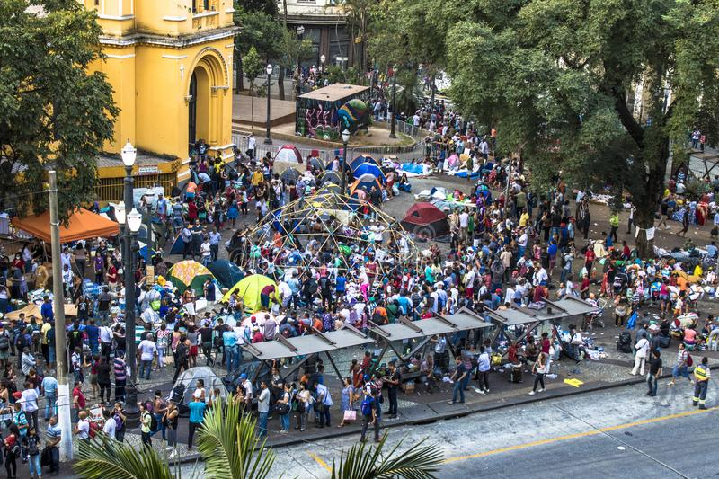 Aerial view of camp of homeless family in paissandu square. Sao Paulo, SP, Brazil, May 04, 2018. The camp of families occupying a building that collapsed due to royalty free stock photography
