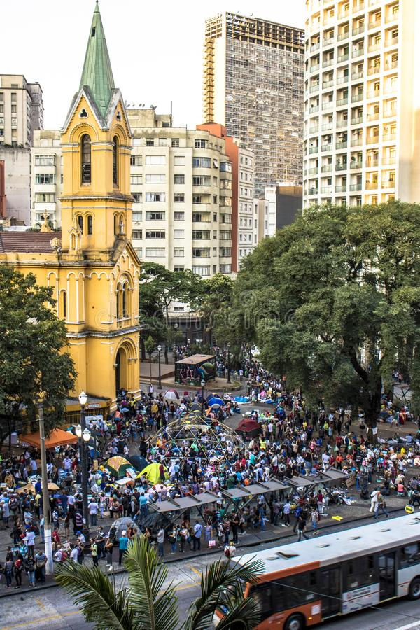 Aerial view of camp of homeless family in paissandu Square. Sao Paulo, SP, Brazil, May 04, 2018. The camp of families occupying a building that collapsed due to royalty free stock photos