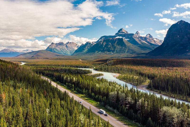 Aerial View of the Canadian Rockies at Banff National Park, Alberta, Canada stock photo