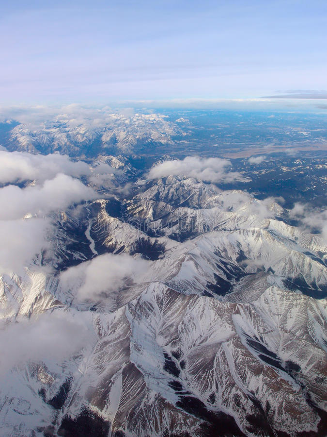Aerial view of Canadian Rockies royalty free stock image