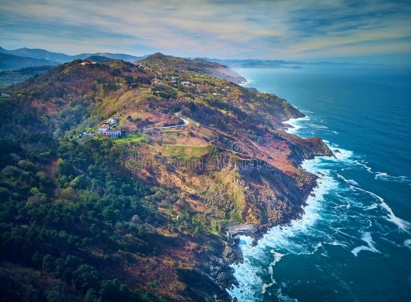 Aerial view of the Cantabrian Sea from Mount Igueldo, Donostia. Spain.  royalty free stock image