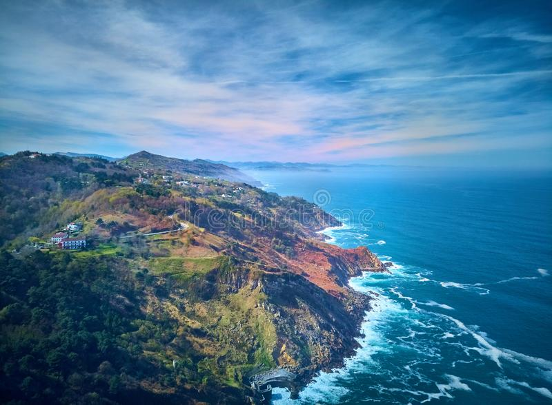 Aerial view of the Cantabrian Sea from Mount Igueldo, Donostia. Spain.  stock photos
