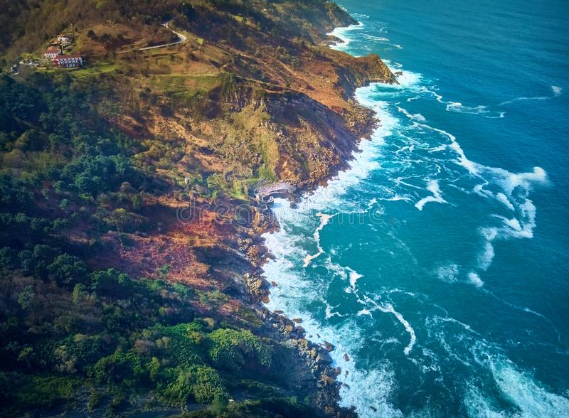 Aerial view of the Cantabrian Sea from Mount Igueldo, Donostia. Spain.  royalty free stock photography