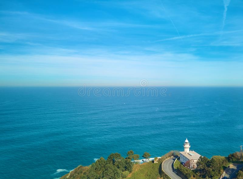 Aerial view of the Cantabrian Sea and the San Sebastián Lighthouse from Mount Igueldo, Donostia royalty free stock image