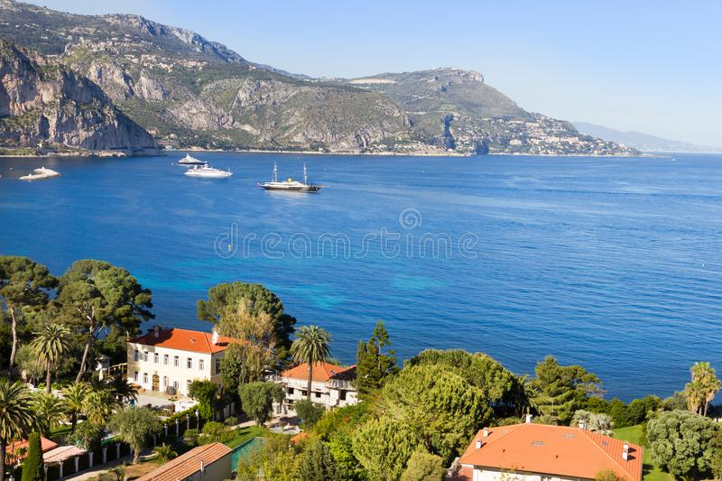 Aerial view of Cap Ferrat, French Riviera royalty free stock image