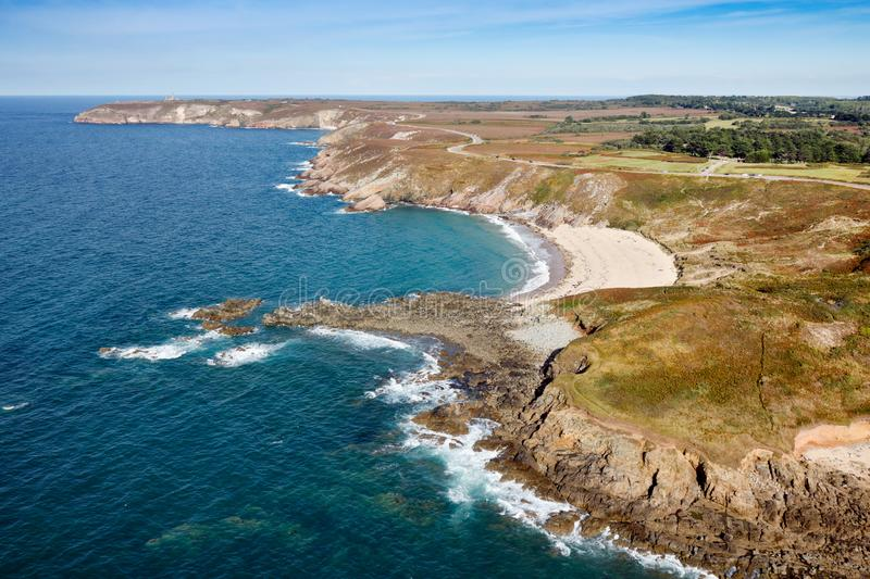 Aerial view of the Cap Frehel coast. In Brittany region, France stock photography