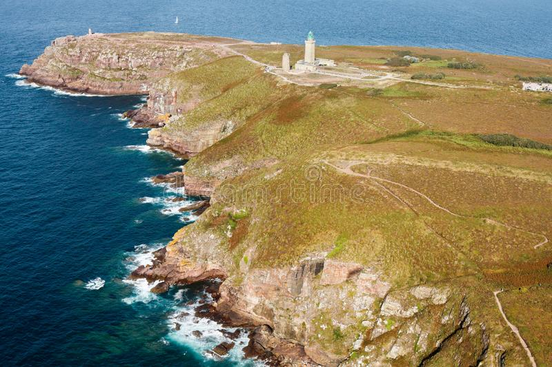 Aerial photography of Cap Frehel, on Brittany region, France. Aerial view of Cap Frehel lighthouse, in Brittany region, France. 2019 september 10 royalty free stock photo