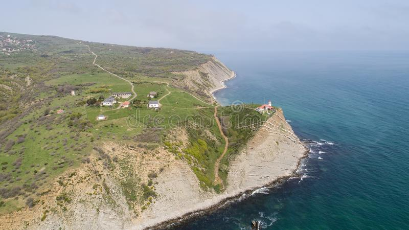 Aerial view of Cape Emine. Cape Emine is a headland located at the Bulgarian Black Sea Coast. Cape Emine is the endpoint of the royalty free stock image