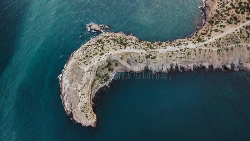 Aerial view of cape Kapchik in Noviy Svet, Krym. Aerial view of rocky Black sea shore and cape Kapchik in Noviy Svet, Krym stock photos