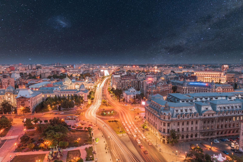 Aerial view of the capital city of Romania, Bucharest. stock images