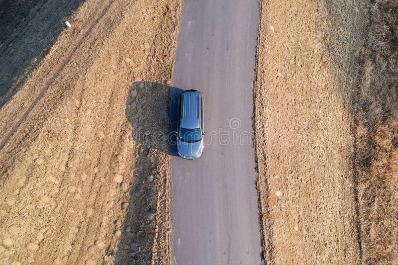 Aerial view of car stock photography