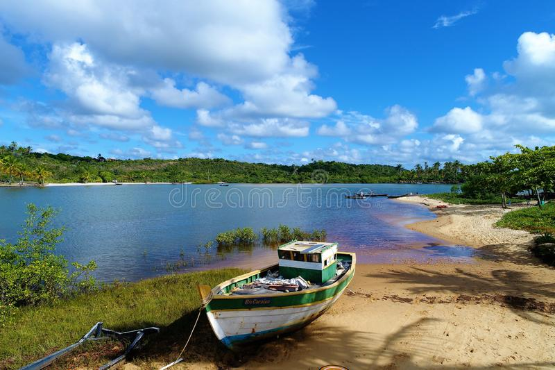 Aerial view of Caraíva & Corumbau beaches, Porto Seguro, Bahia, Brazil. Drone view of Caraíva, Trancoso and Corumbau beaches, in Porto Seguro and Prado royalty free stock images