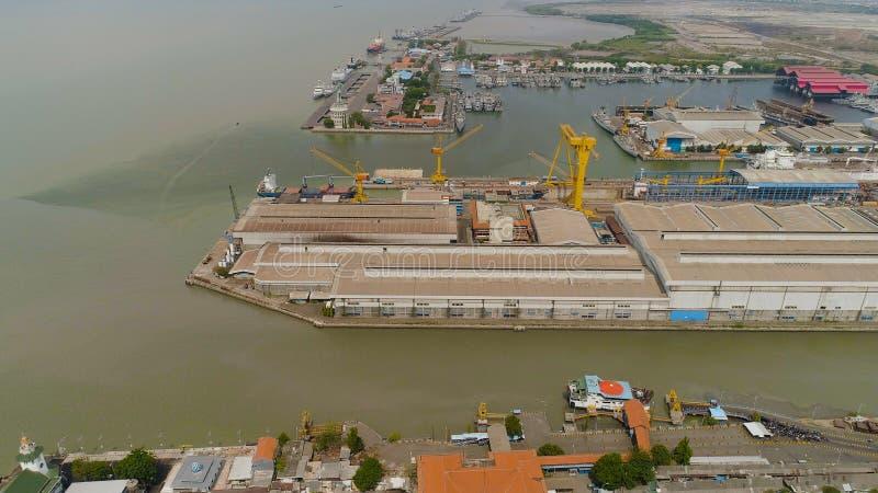 Cargo and passenger seaport in surabaya, java, indonesia stock photos