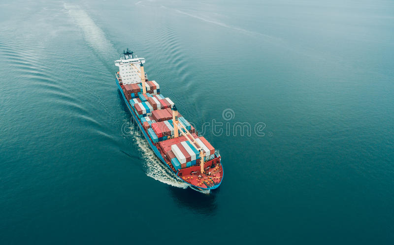 Aerial view of Cargo ship stock photography