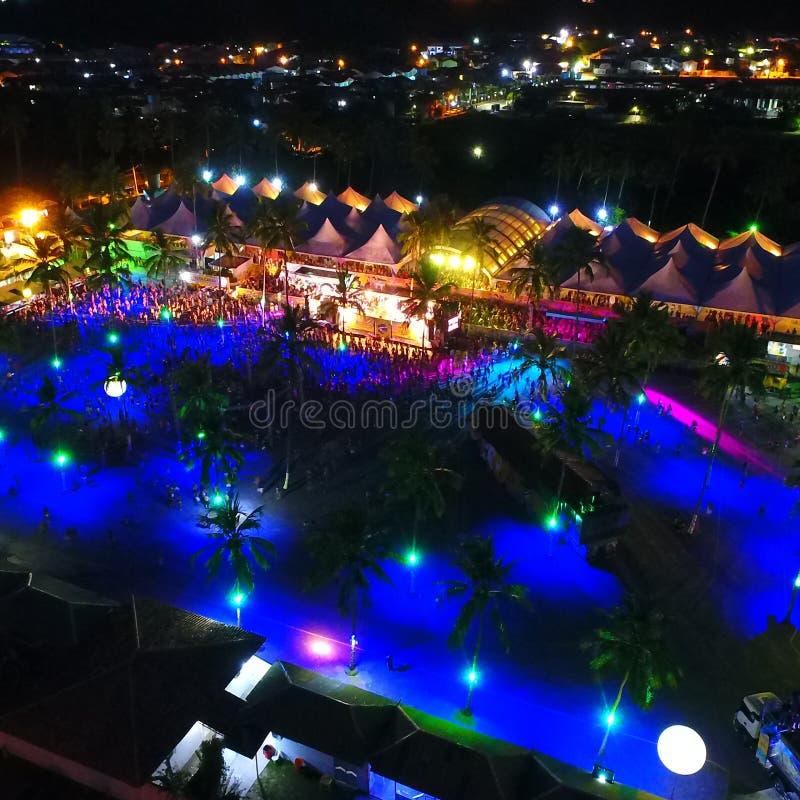 Aerial view of carnival in Porto Seguro beach, Bahia, Brazil. Aerial view of carnival in Axé Moi stadium, Porto Seguro, Bahia, Brazil stock image