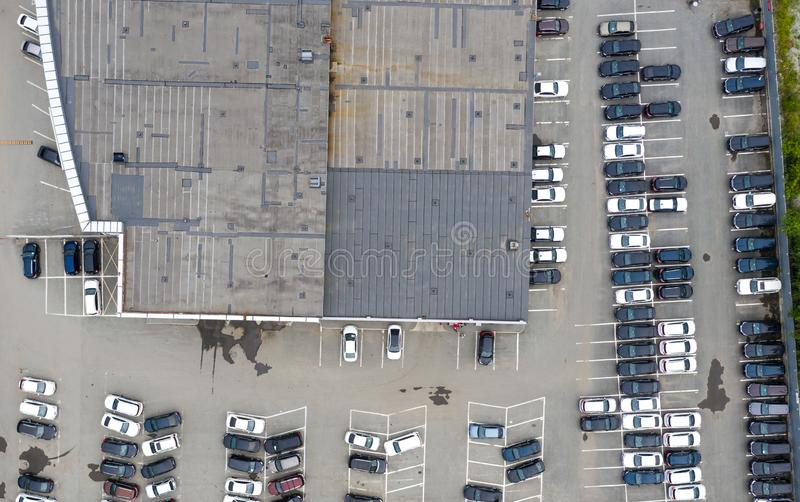 Aerial view cars for sale stock lot row, Car Dealer Inventory, parking lot stock photos