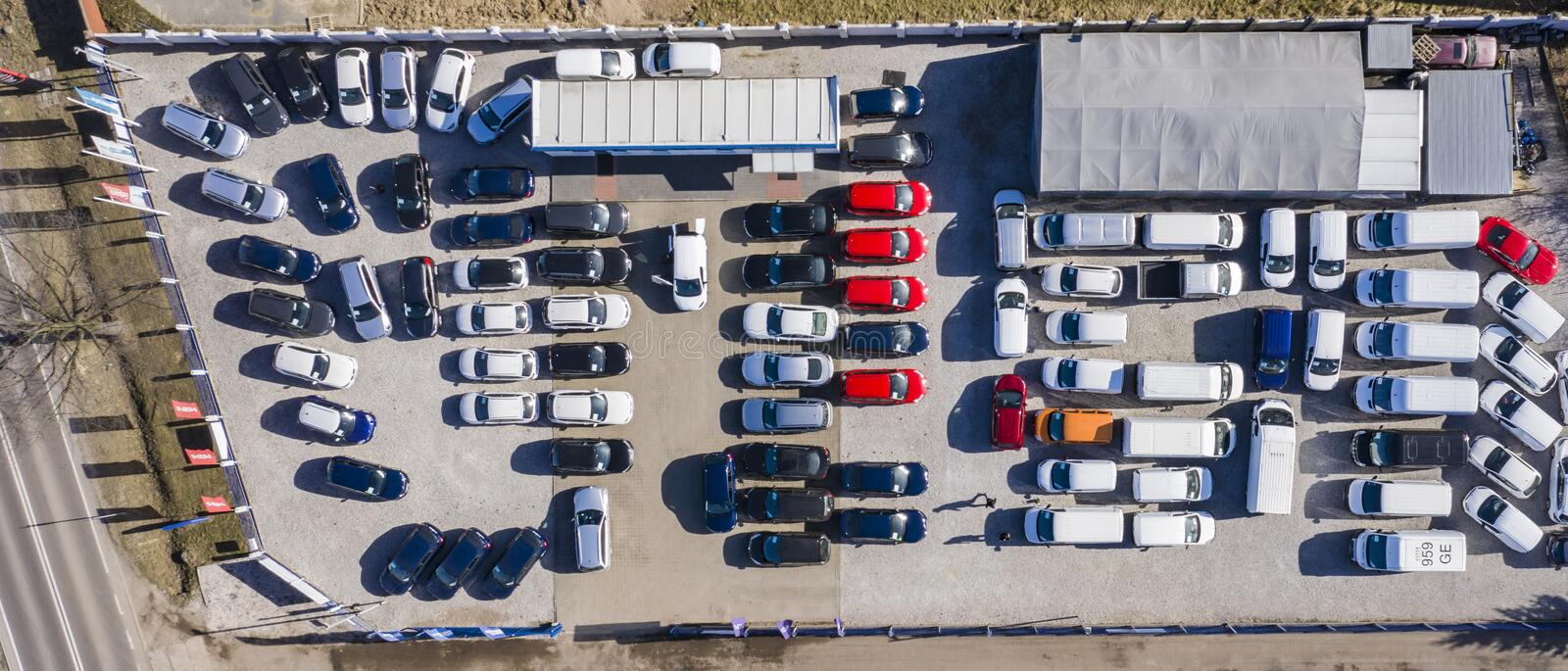 Aerial view cars for sale stock lot row, Car Dealer Inventory, parking lot stock images