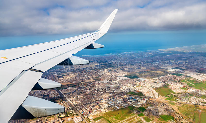 Aerial view of Casablanca from a landing airplane stock photography