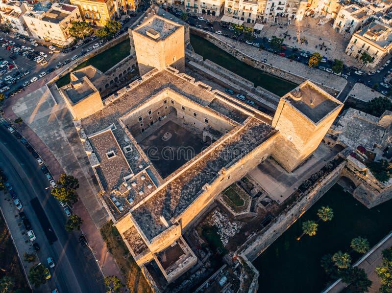 Aerial view of Castello Normanno-Svevo in Bari, Italy. Top view of Castello Normanno-Svevo in Bari, Italy stock photo