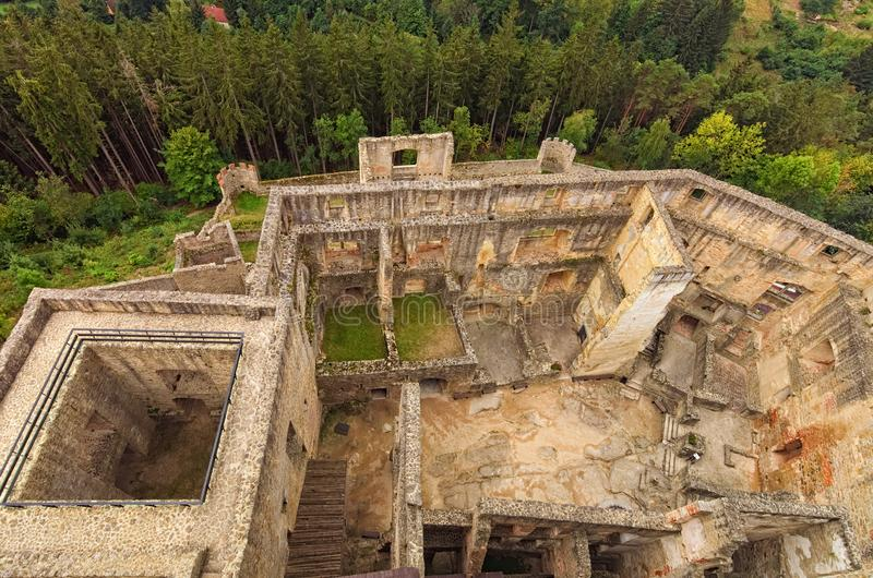 Aerial view of castle courtyard and ruins of Landstejn Castle. Scenic landscape of castle in the forest royalty free stock image