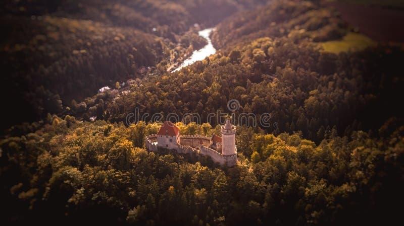 Aerial view of castle Kokorin stock photo
