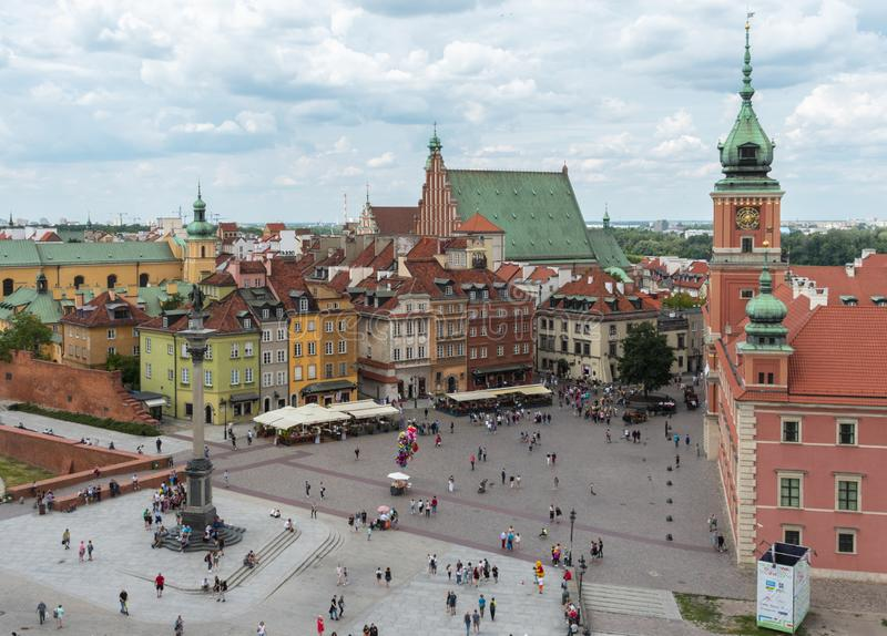 Aerial view of Castle Square and in Warsaw, Poland royalty free stock image