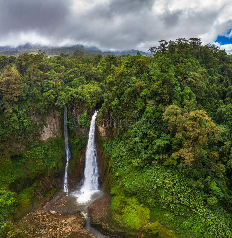 Aerial view of the Catarata del Toro waterfall in Costa Rica stock photo