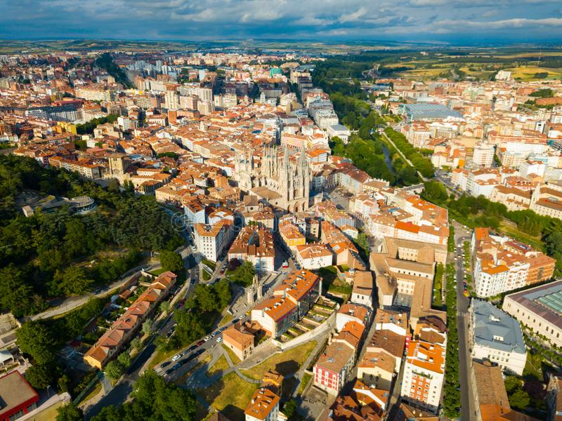 Aerial view on the Cathedral of Burgos. Castilla y Leon. Spain royalty free stock photo