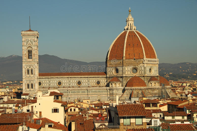 Aerial view cathedral of Florence stock photo