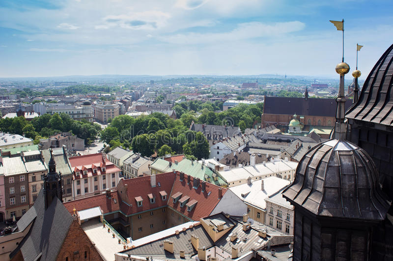 Aerial view of the Cathedral of St. Barbara and the Jesuit Monastery, and other roofs of houses in the historic part of Krakow. P stock images