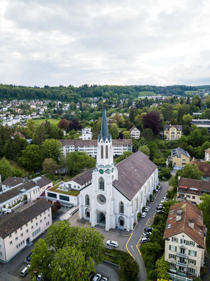 Aerial view of the Catholic church St. Maria stock images