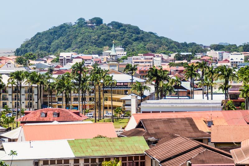 Aerial view of Cayenne. Capital of French Guiana stock image