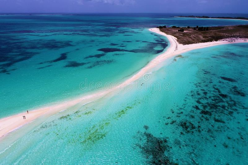 Aerial view of Cayo de Agua, a fantastic caribbean beach. Drone view of Cayo de Agua, a blue turquoise beach in the caribbean sea, Los Roques, Venezuela stock photo