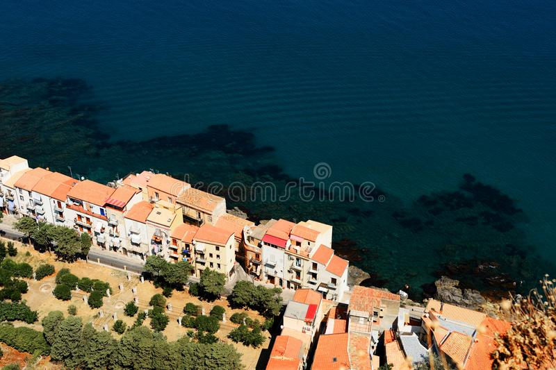 Aerial view of Cefalu town from the Rocca di Cefalu. Sicily, Italy royalty free stock images