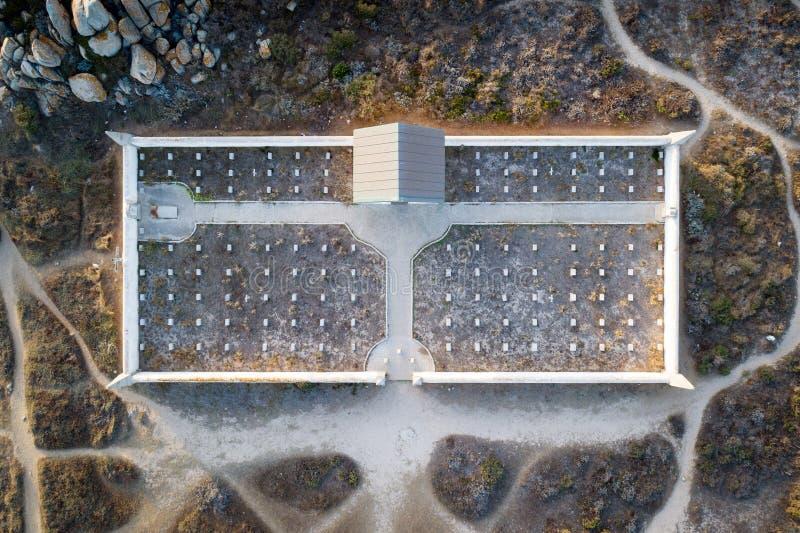 Aerial view of cemetery on Lavezzi island stock photos