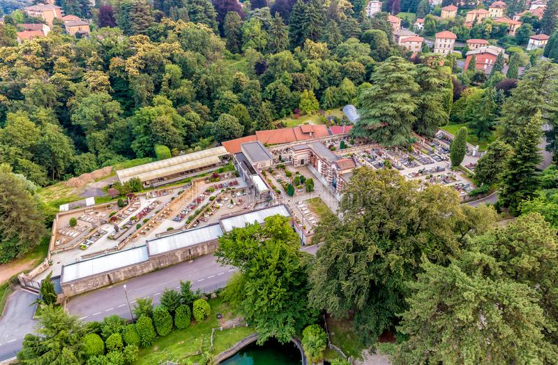 Aerial view of Cemetery of Sant Ambrogio on the Garigliano in Varese, Italy stock photos