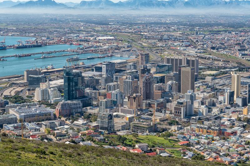 Aerial view of the Central Business District of Cape Town. CAPE TOWN, SOUTH AFRICA, AUGUST 9, 2018: An aerial view of the harbor and Central Business District of royalty free stock photo