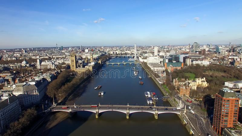 Aerial View of Central London Big Ben Clock Tower Parliament and Eye Wheel stock images