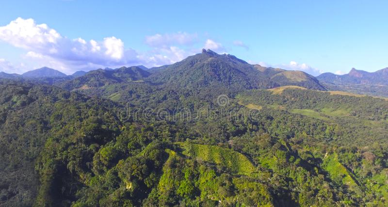 Aerial view of the central mountais of Panama stock photography