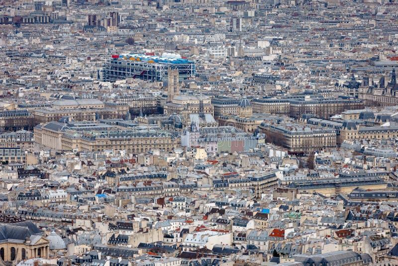 Aerial view of central paris with centre georges pompidou franc stock photo image of - Les cents ciels paris 11 ...